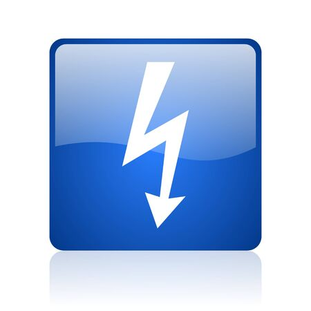 lightning blue square glossy web icon on white background  photo