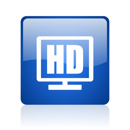 hd display blue square glossy web icon on white background  photo