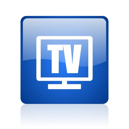 tv blue square glossy web icon on white background  photo