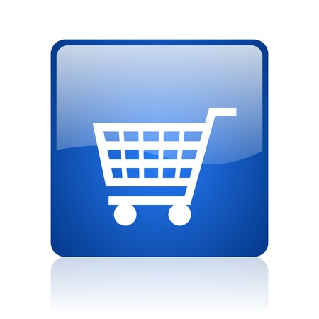 shopping cart blue square glossy web icon on white background  photo