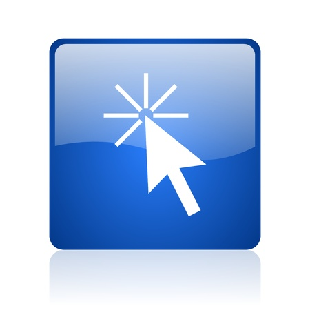 click here blue square glossy web icon on white background Stock Photo - 18037782