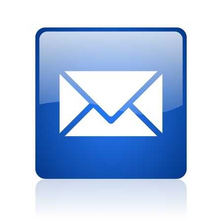 mail blue square glossy web icon on white background  photo