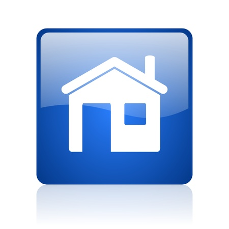 home blue square glossy web icon on white background  photo