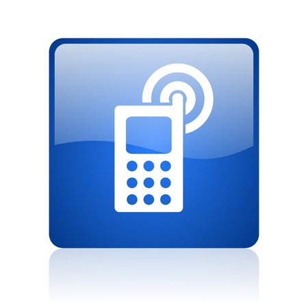 cellphone blue square glossy web icon on white background  photo