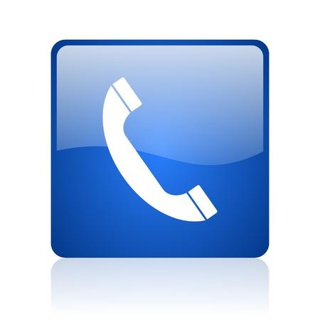 telefoon blauw vierkant glossy web pictogram op witte achtergrond Stockfoto