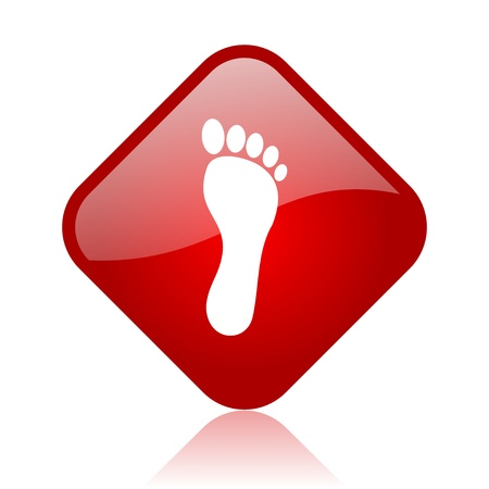 footprint red square glossy web icon