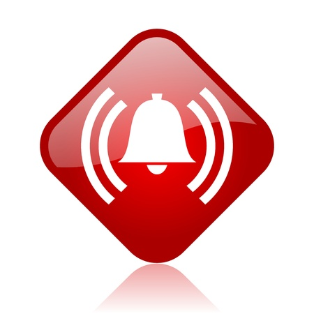 alarm red square glossy web icon