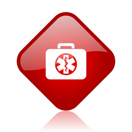 rescue kit red square glossy web icon  photo