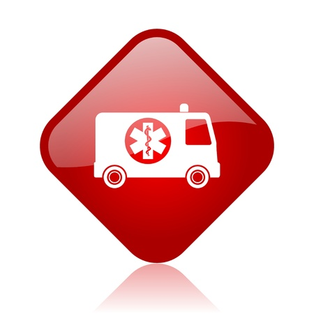 ambulance red square glossy web icon