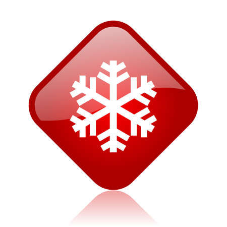 snowflake red square glossy web icon Stock Photo - 18165884
