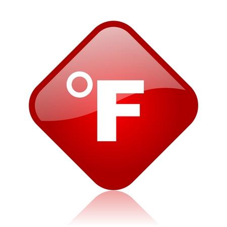 fahrenheit: fahrenheit icono de web brillante cuadrado rojo Foto de archivo