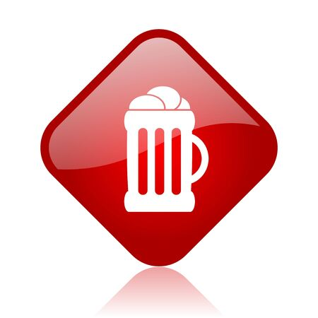 beer red square glossy web icon  photo