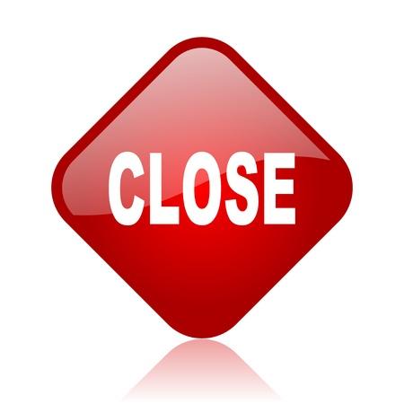close red square glossy web icon Stock Photo - 18165595