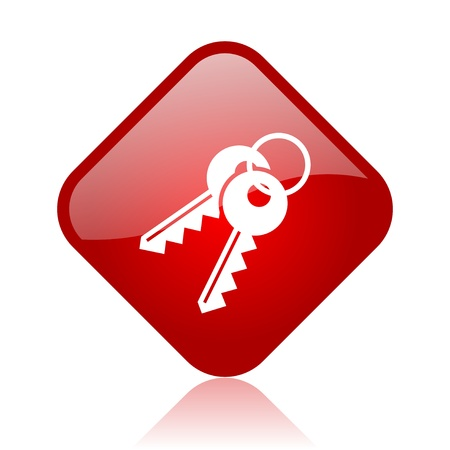 keys red square glossy web icon  photo