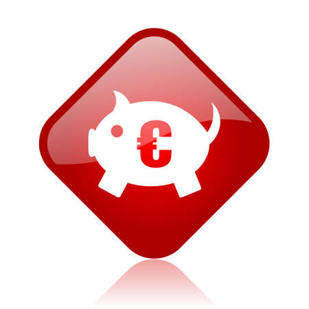piggy bank red square glossy web icon  photo