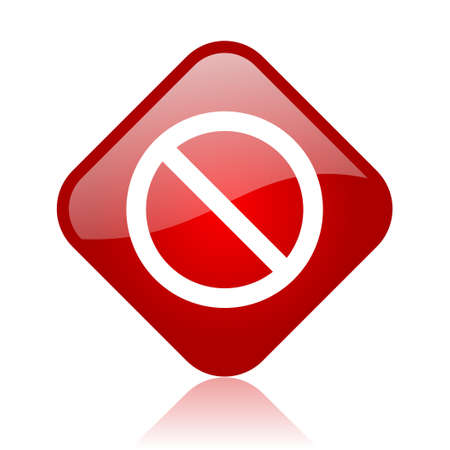 access denied red square glossy web icon Stock Photo - 18165807
