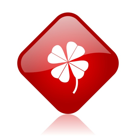 four-leaf clover red square glossy web icon  photo
