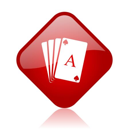 playing cards red square glossy web icon  photo