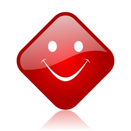 smile red square glossy web icon Stock Photo - 18165541