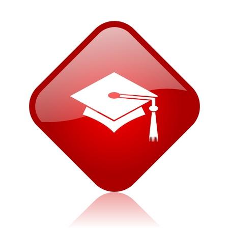graduation red square glossy web icon  photo