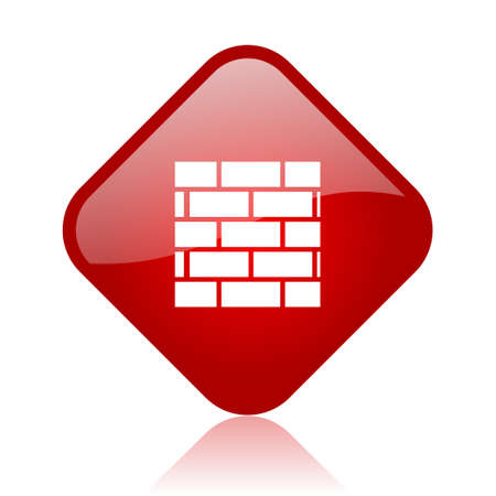 firewall red square glossy web icon  photo