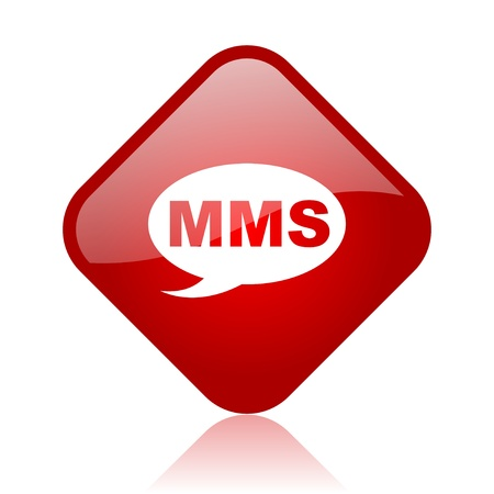 mms red square glossy web icon  photo