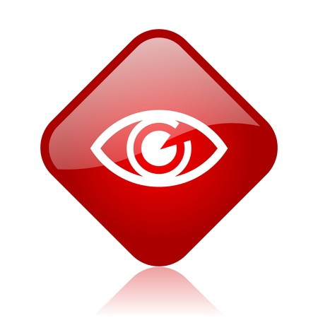 eye red square glossy web icon  photo