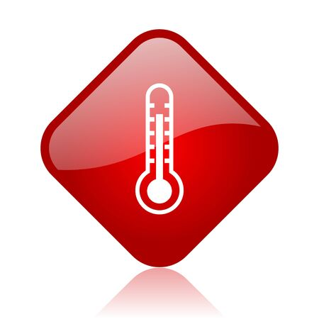 thermometer red square glossy web icon  photo