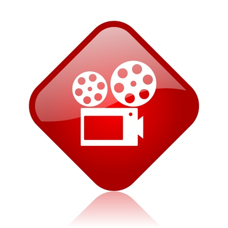 cinema red square glossy web icon  photo