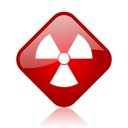 radiation red square glossy web icon