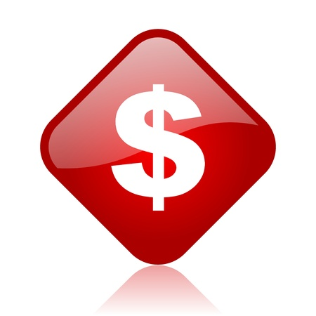 us dollar red square glossy web icon Stock Photo - 18164973