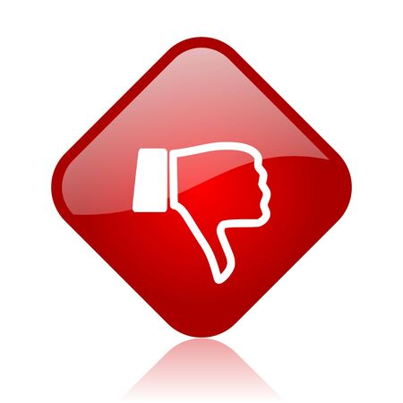 thumb down red square glossy web icon Stock Photo - 18165592