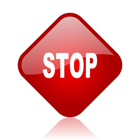 stop red square glossy web icon