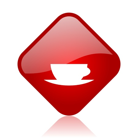 coffee cup red square glossy web icon  photo