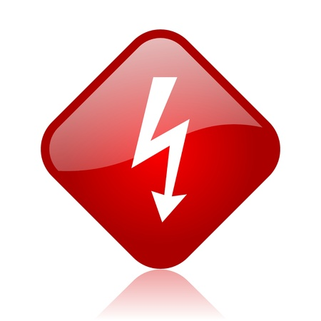lightning red square glossy web icon Stock Photo - 18164997