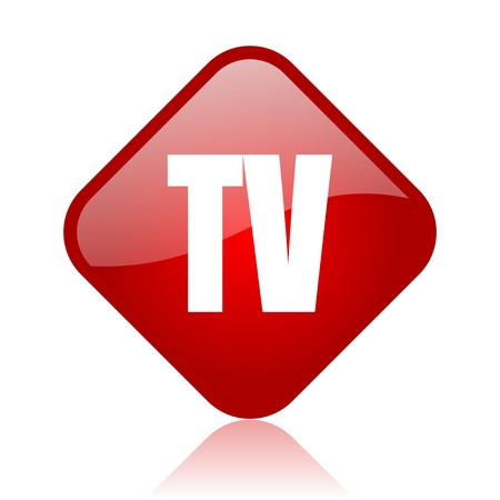tv red square glossy web icon  photo