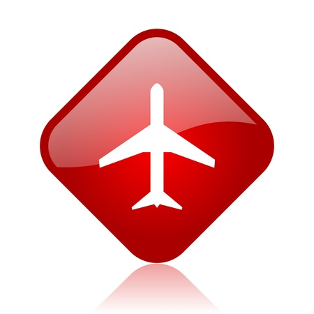 airplane red square glossy web icon  photo