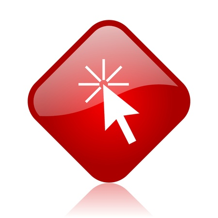 click here red square glossy web icon Stock Photo - 18165540