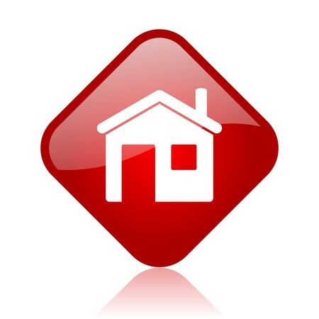 home red square glossy web icon  photo