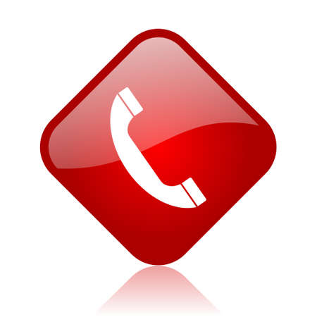 call us: phone red square glossy web icon  Stock Photo