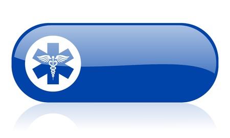 caduceus blue web glossy icon Stock Photo - 18223111