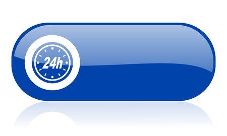 24h: 24h blue web glossy icon