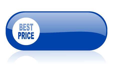 best price blue web glossy icon Stock Photo - 18222978