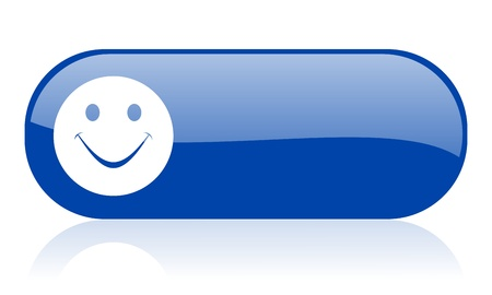 smile blue web glossy icon Stock Photo - 18222038