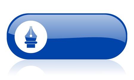 pen blue web glossy icon   Reklamní fotografie