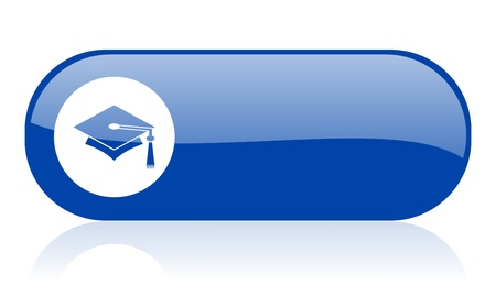 graduation blue web glossy icon   photo