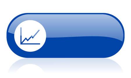 chart blue web glossy icon Stock Photo - 18222101