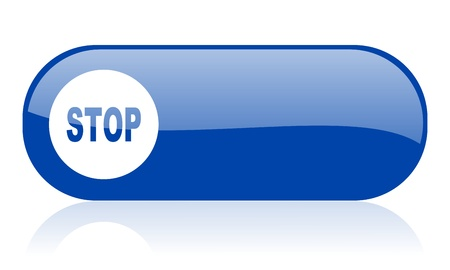 stop blue web glossy icon 