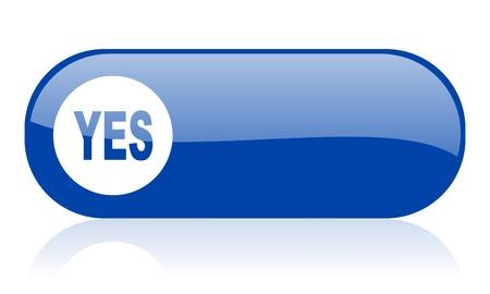 yes blue web glossy icon  Stock Photo - 18222146