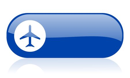airplane blue web glossy icon 